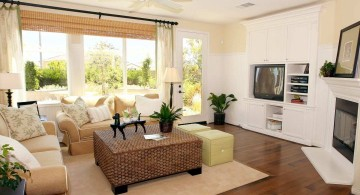 small living room ideas with rattan coffee table