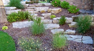 terraced flower garden with stone path