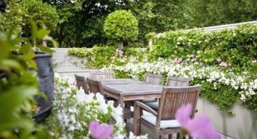 terraced flower garden with white flower