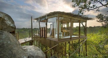 treehouse on stilts in Africa