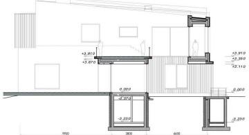 two villas side elevation plan