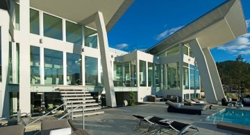 ultramodern lake house entrance