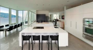 ultramodern lake house kitchen bar sitting