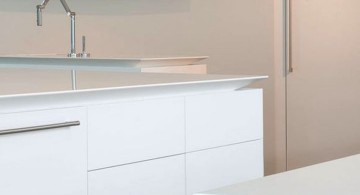 ultramodern lake house kitchen island close up