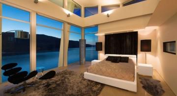 ultramodern lake house master bedroom