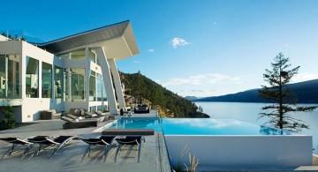 ultramodern lake house pool