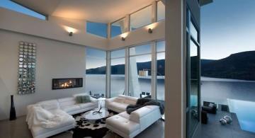 ultramodern lake house sitting area