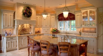 warm and cozy kitchen island with seating for six