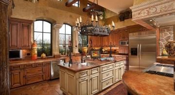 warm with tall ceiling mediterranean kitchen designs