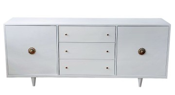 white lacquer credenza with two large storage