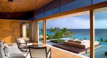 wood pool deck with glass door