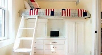 adult loft beds with desk in white for narrow space