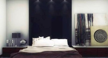 bachelor bedroom decorating ideas with black panel as headboard
