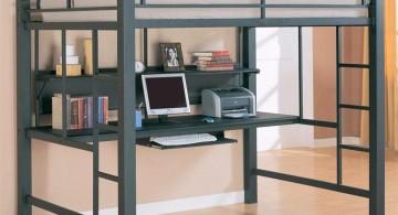 blue adult loft beds with desk