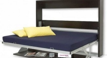 blue and dark wood murphy bed couch ideas