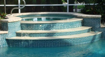 blue art deco best pool tile