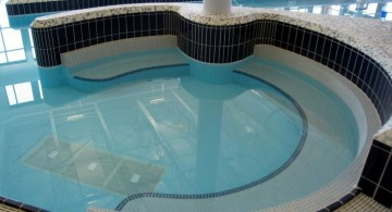 blue white and black mosaic tiles best pool tile