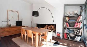 bookshelves in dining room for urban apartments