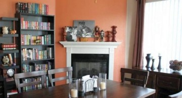 bookshelves in dining room tuscan style
