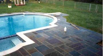 bright multicolord cut pool deck stone