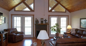 cathedral ceiling living room in earth tone