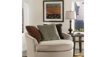 comfortable large round reading chair with brown cushions