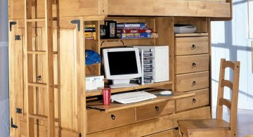 compact adult loft beds with desk from wood