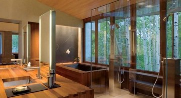 contemporary Japanese bathroom designs with cased shower