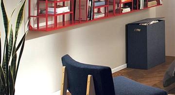 contemporary red elegant wall shelves