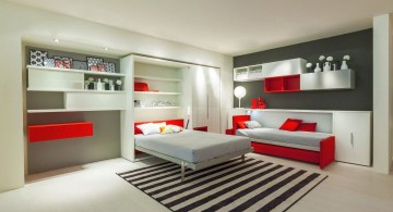 convertible bed designs in red and white