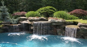 double waterfalls for pools inground