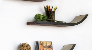 elegant wall shelves with slight curve in the end