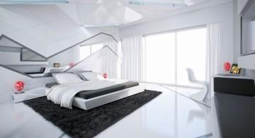futuristic cool modern bedrooms in monochrome
