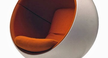 futuristic white and orange round reading chair