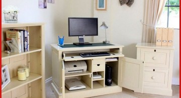 hideaway desk designs in white for corner space