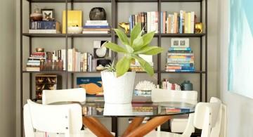 industrial bookshelves in dining room
