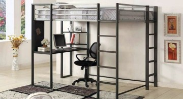 industrial minimalist adult loft beds with desk