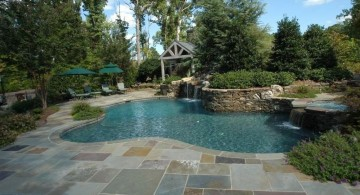 large cut multicolored pool deck stone