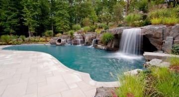 large waterfalls for pools inground