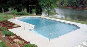 lazy l pool designs with small garden outlooking the river