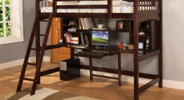 low adult loft beds with desk from dark wood