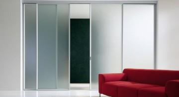 minimalist frosted modern sliding glass door designs