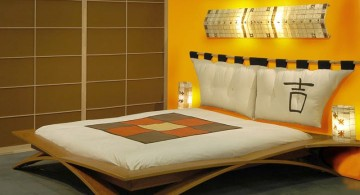 minimalist modern asian bedroom in yellow with unique bed for small rooms