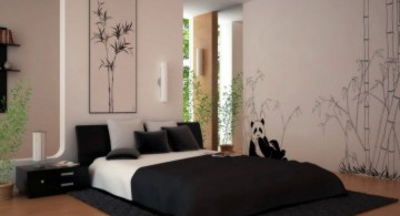 minimalist modern asian bedroom with bamboo decals