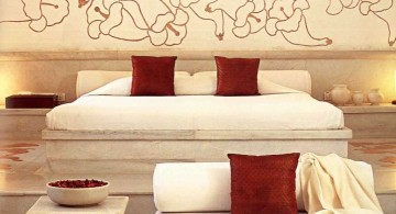 minimalist most romantic bedrooms with wall mural