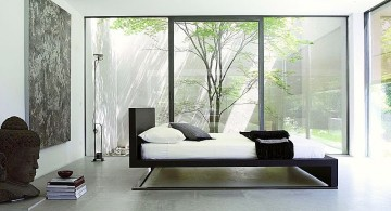modern asian bedroom in white with floating bed