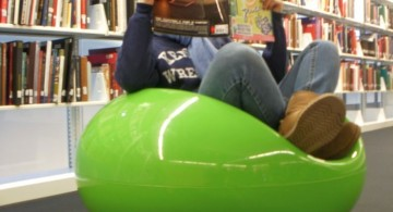 modern green round reading chair for library
