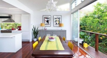 modern sliding glass door designs that connect the dining room to the balcony
