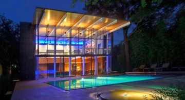 modern swimming pools for small spaces with small fountain