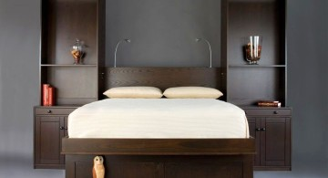 murphy bed couch ideas with dark wood frames